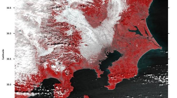 宇宙から見る関東の大雪