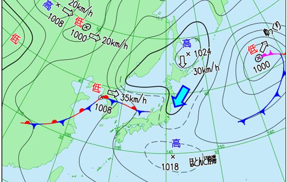 オホーツク海高気圧と山の天気